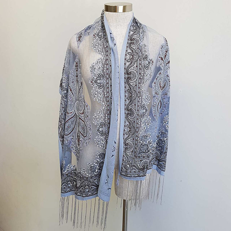 Beautiful fine paisley printed sheer scarf with fringing. Silvery Grey.