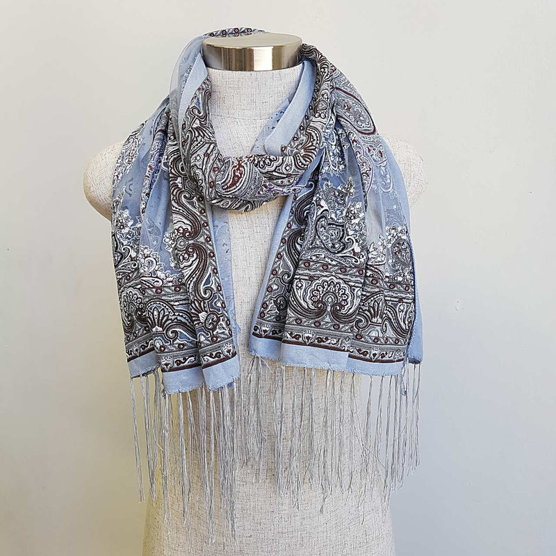 Beautiful fine paisley printed sheer scarf with fringing. Silver Grey.