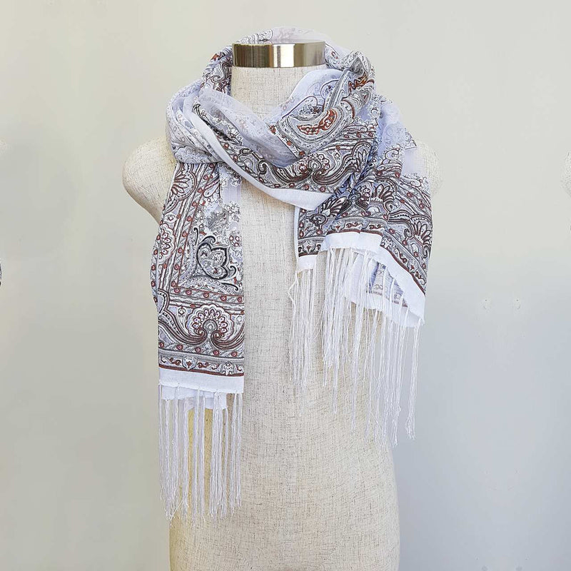Beautiful fine paisley printed sheer scarf with fringing. White.