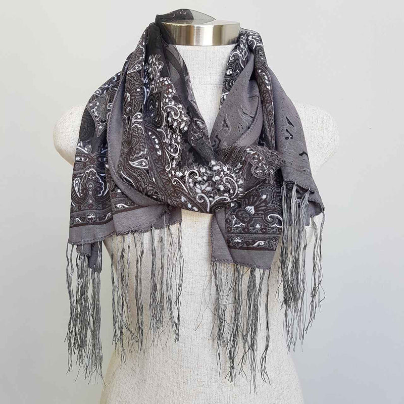 Beautiful fine paisley printed sheer scarf with fringing.  Charcoal Grey.