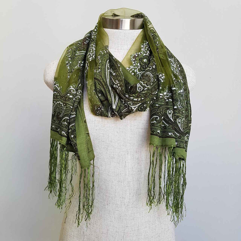 Beautiful fine paisley printed sheer scarf with fringing. Khaki Green.