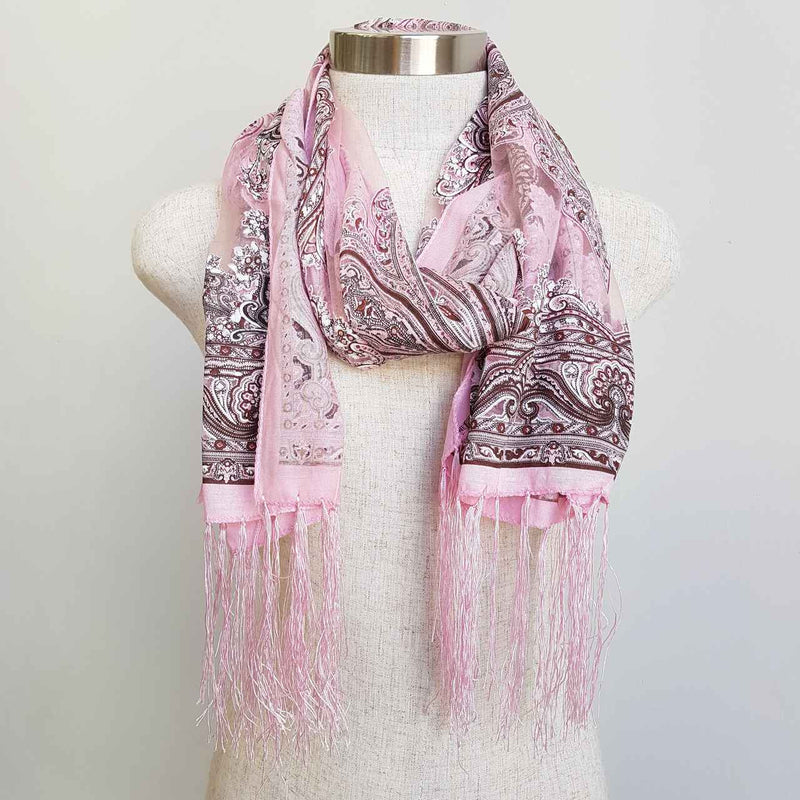 Beautiful fine paisley printed sheer scarf with fringing.  Pink.
