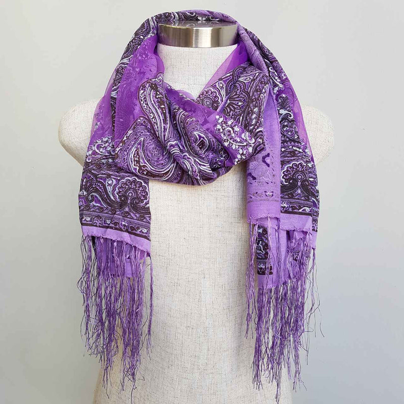 Beautiful fine paisley printed sheer scarf with fringing.  Purple