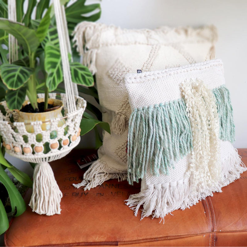 Fringed boho style throw cushion in natural cream cotton weave With zippered removable cover 45cm x 45cm