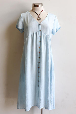 Made from a softly draping linen-blend fabric and designed for cruisy summer days. Short Sleeve Dress with full button front and below the knee hemline. In sizing options from 6 to 20. Pale Blue.