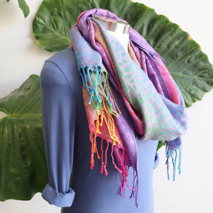 Delicate Rainbow Pashmina Scarf Wrap + Pebble Print + Tassle. Rainbow Purple.