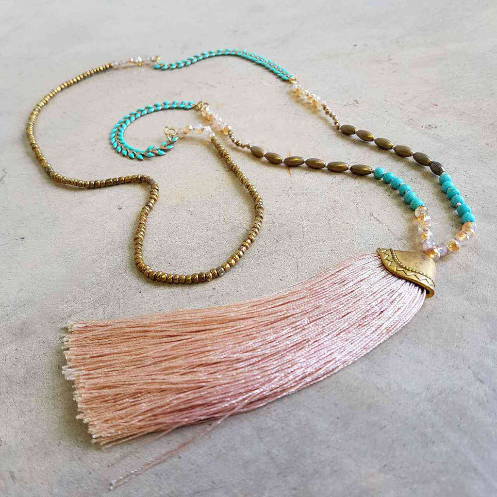 Long tassel pendant handmade glass bead ethnic style necklace. Blush Pink