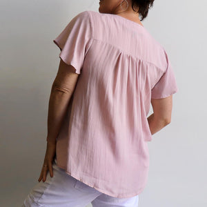 Apollo Bay Blouse - classic short-sleeved peasant top designed for the Australian summer. Dusty Pink. Back view.