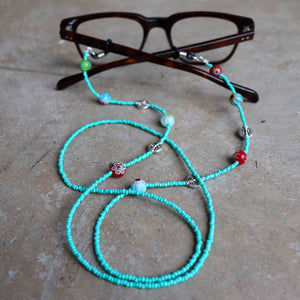 Reading Glasses and Sunglasses beaded necklace safety chain handmade with glass beads.