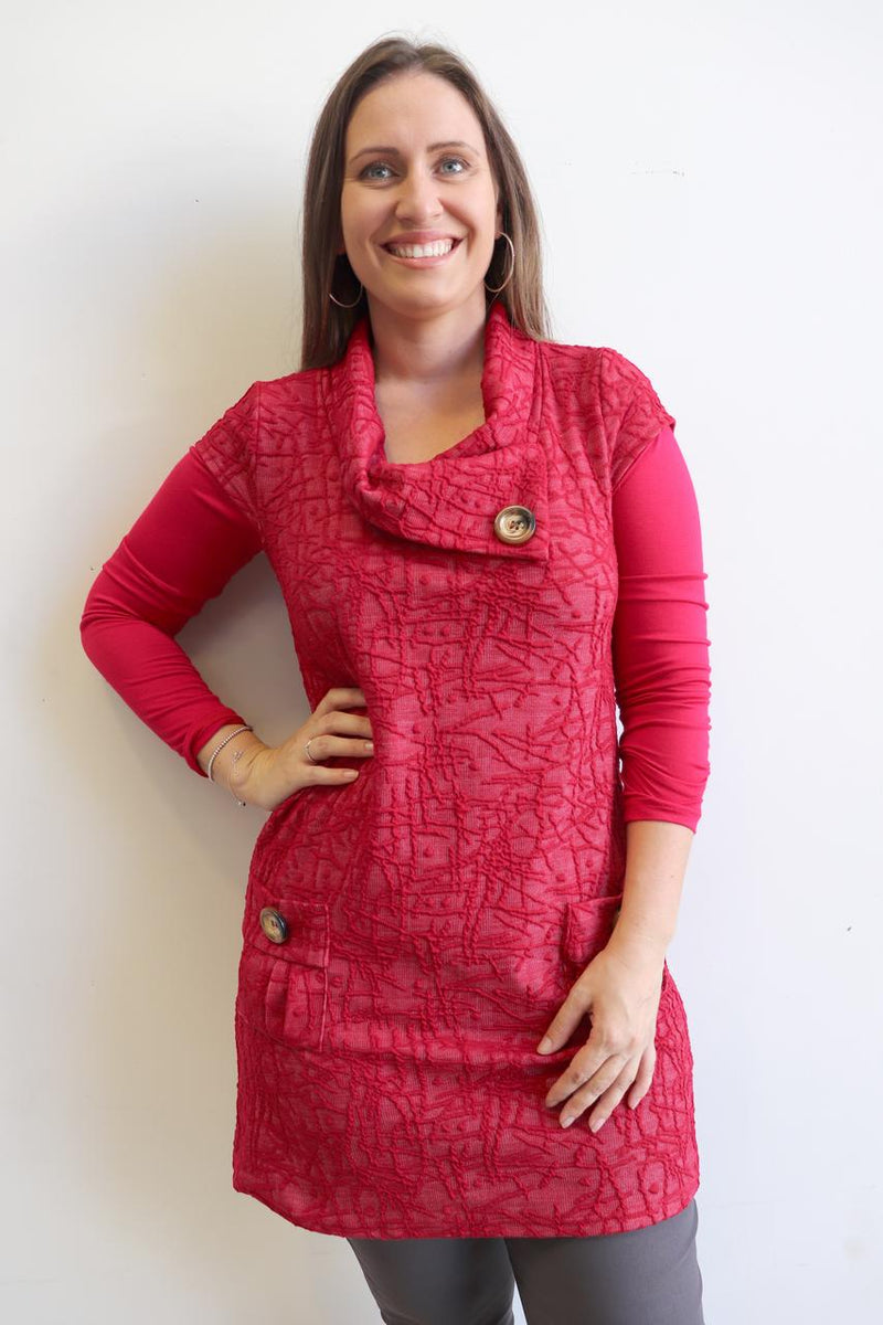 Peggy Pocket Tunic Abstract - Red.