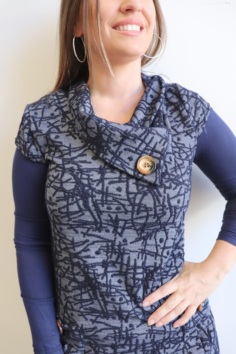 Peggy Pocket Tunic Abstract - Navy Blue.