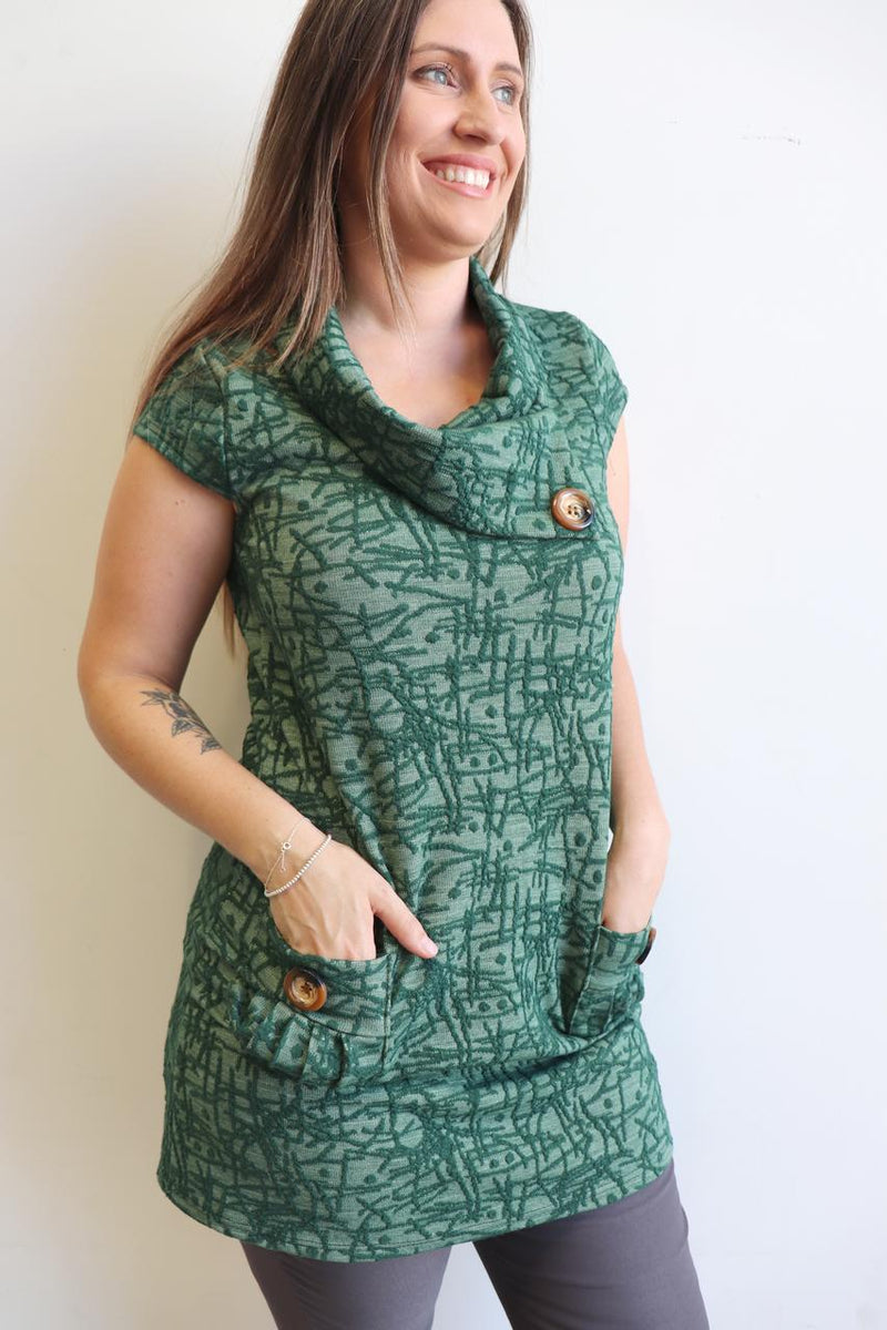 Peggy Pocket Tunic Abstract - Green.