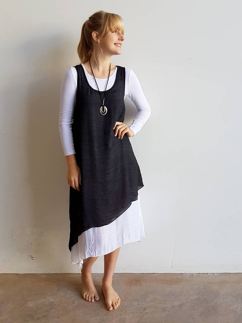 Light + floaty textured cotton blend womens sleeveless summer dress with a-symmetrical layer hem + round neck.  Black.