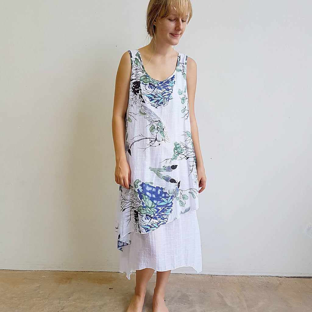 Penny Lane Long Layer Tunic Dress in white with soft bird water colour print. Sizes to plus size. Perfect for layered styles.