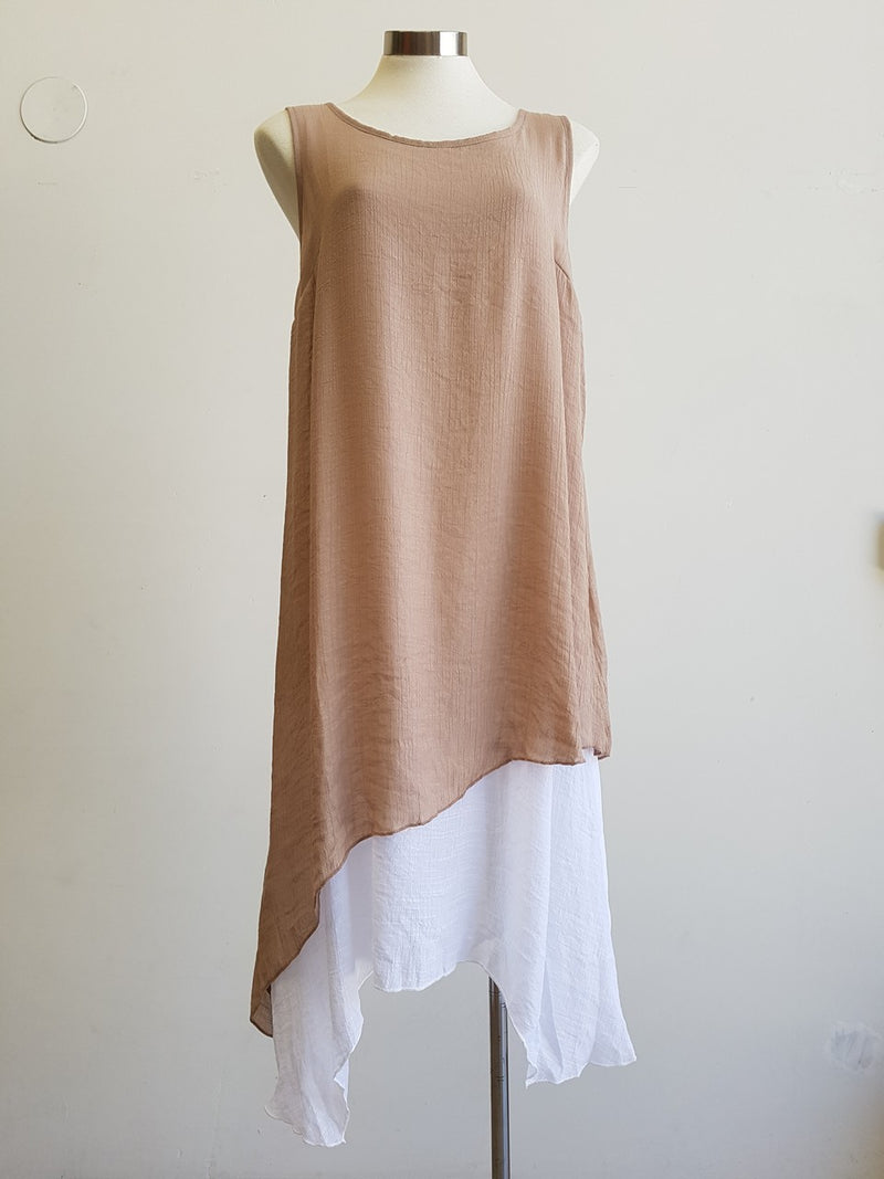 Light + floaty textured cotton blend womens sleeveless summer dress with a-symmetrical layer hem + round neck. Mocha.