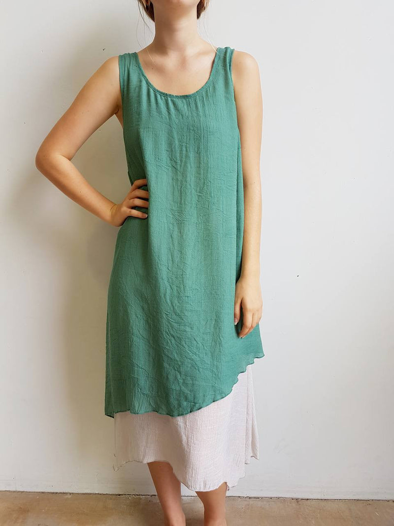 Penny Lane Long Tunic Dress is a layering design with below the knee hemline. Available in plus sizes. Sage Green