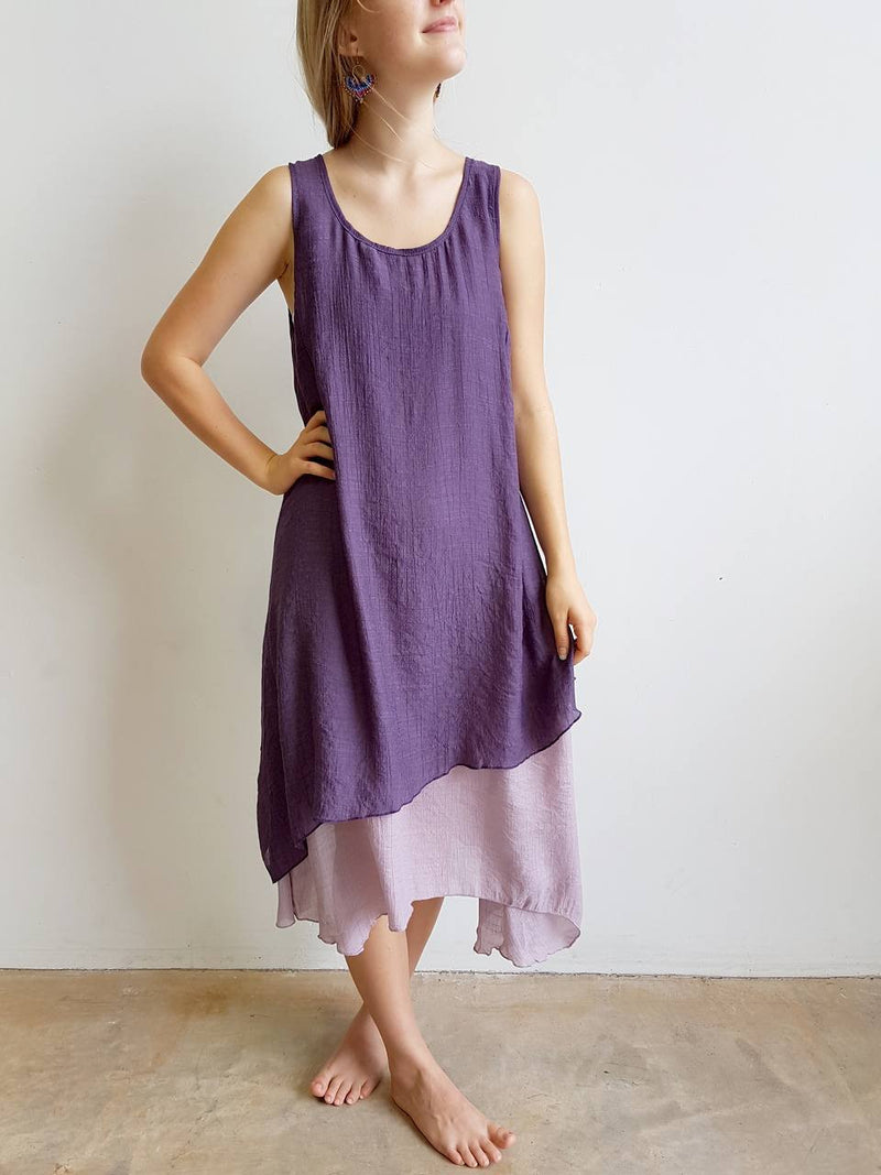 Light + floaty textured cotton blend womens sleeveless summer dress with a-symmetrical layer hem + round neck.  Plum Purple