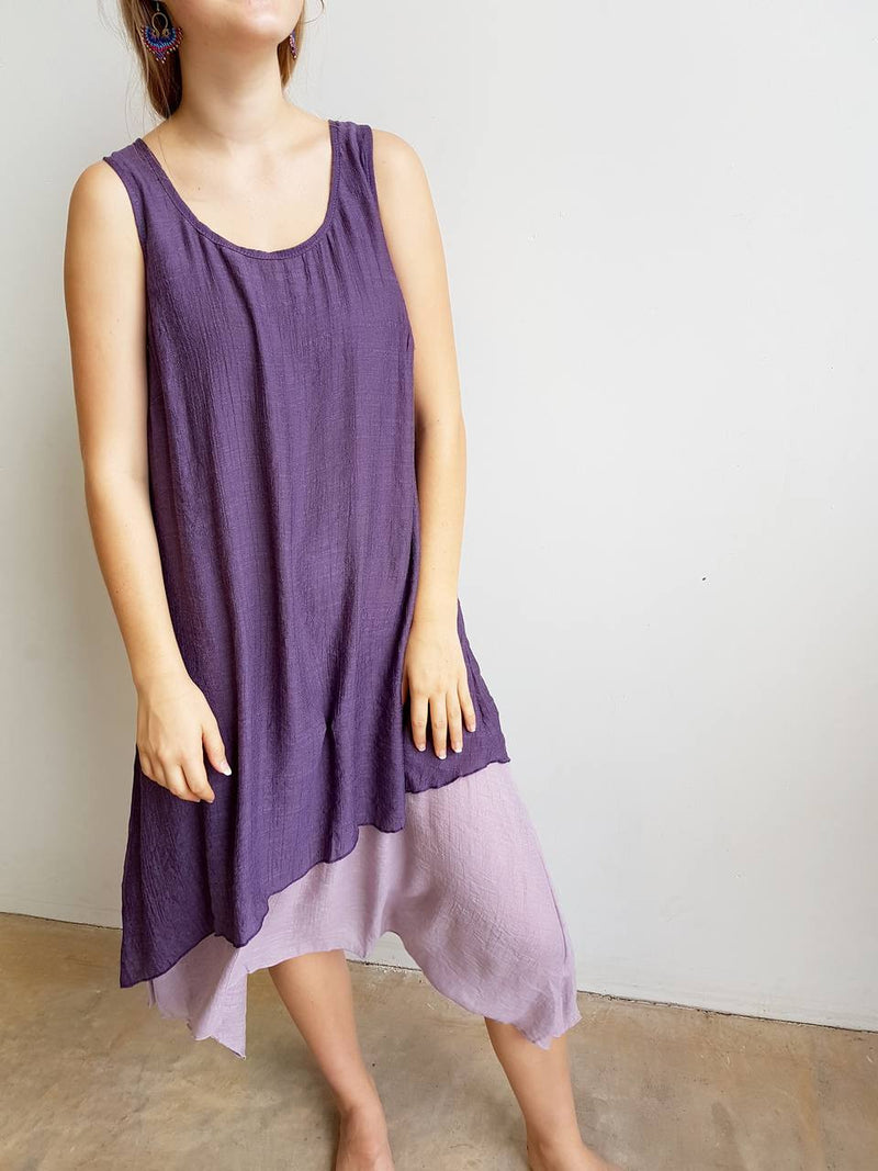 Penny Lane Long Tunic Dress is a layering design with below the knee hemline. Available in plus sizes. Plum Purple