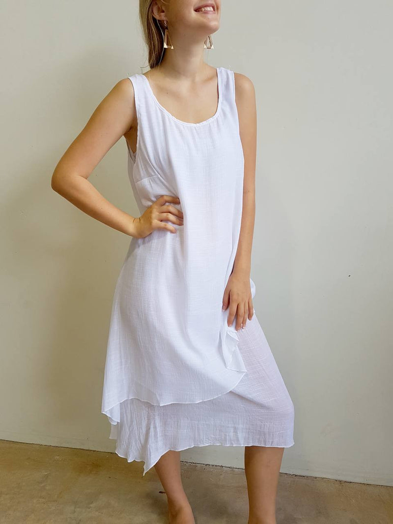 Light + floaty textured cotton blend womens sleeveless summer dress with a-symmetrical layer hem + round neck.  White