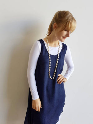 Light + floaty textured cotton blend womens sleeveless summer dress with a-symmetrical layer hem + round neck.  Navy Blue.