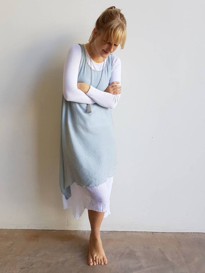 Light + floaty textured cotton blend womens sleeveless summer dress with a-symmetrical layer hem + round neck.  Silver Grey.