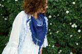 Stunning handmade, naturally dyed, 100% cotton wrap scarf with tassels in indigo blue.