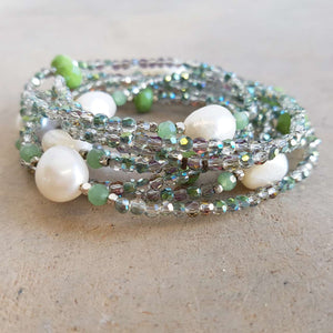 Pisces Pearl and Cutglass Necklace- 70cm length freshwater pearls. Soft Green.