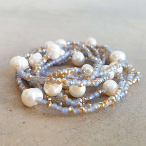 Pisces Pearl and Cutglass Necklace- 70cm length freshwater pearls. Neutral.