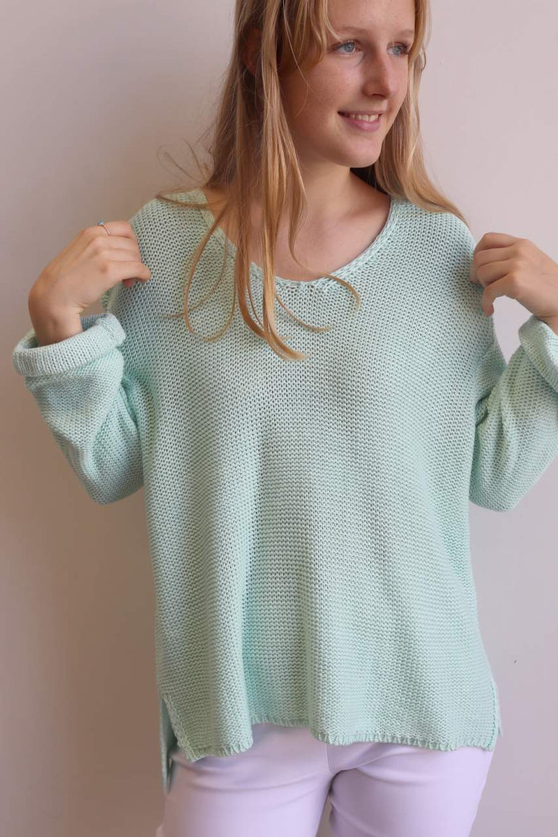 Oversize knit jumper with V-neck and boxy shape knit top perfect for weekend casual women's wear - mint green