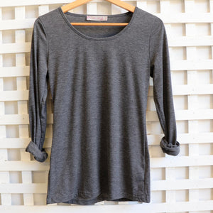 Cotton Long Sleeve T-shirt is an essential winter wardrobe basic made for layering. Marle Grey.