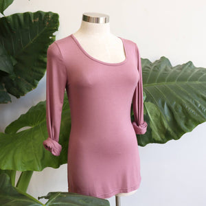 Cotton Long Sleeve T-shirt is an essential winter wardrobe basic made for layering. Heather Pink. Side view.