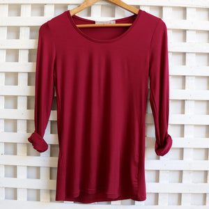 Silky soft cotton tee with plenty of stretch. Great for winter layering. Warm Berry.