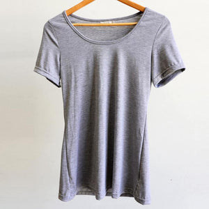 Women's stretchy soft polished cotton blend,  short sleeved t-shirt. Plain and basic summer top staple for easy styling and layering. Petite to plus size available from a 6 to 22 - Marle Grey