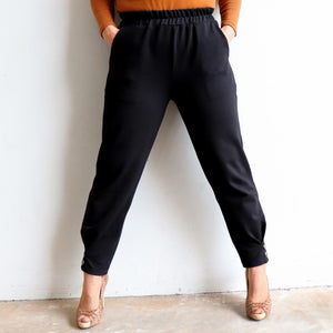 Ponte Jogger Pants are a smart casual winter stretch pant. Black. Full leg view.
