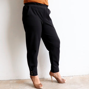 Ponte Jogger Pants are a smart casual winter stretch pant. Black. Side leg view.