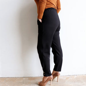Ponte Jogger Pants are a smart casual winter stretch pant. Black. Back view.