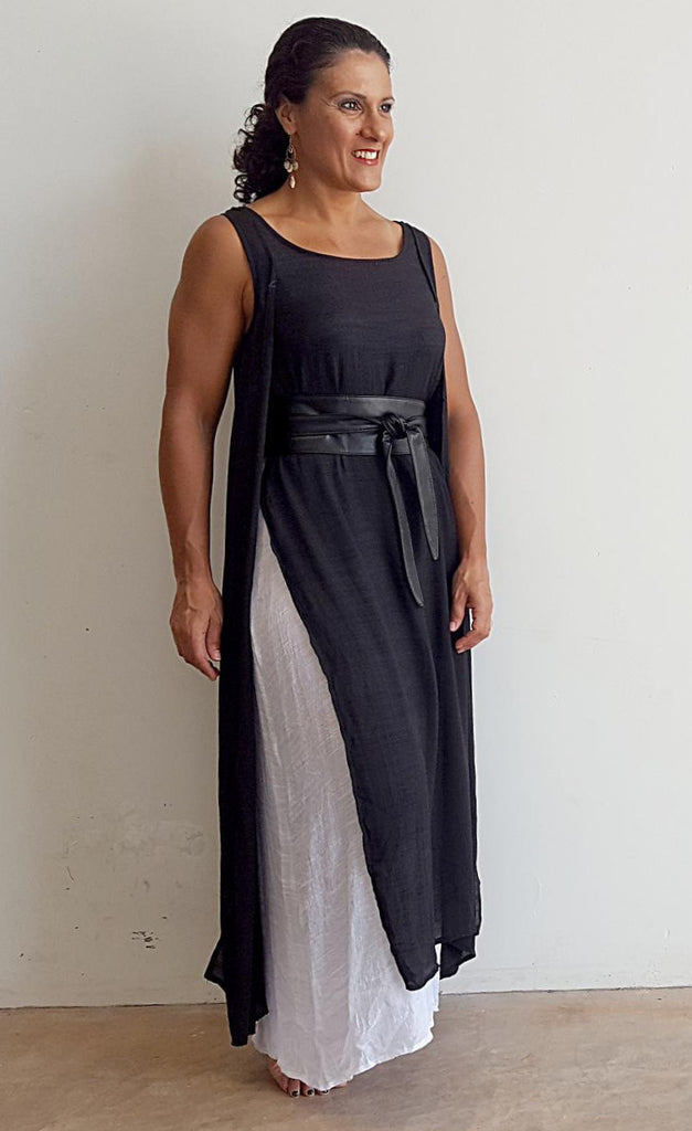 Light + floaty soft cotton blend sleeveless layer maxi dress. This gem is a super cool summer dress + suitcase friendly. Black.