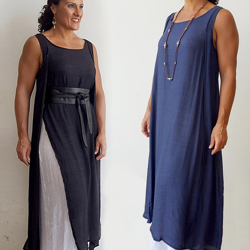 Light + floaty soft cotton blend sleeveless layer maxi dress. This gem is a super cool summer dress + suitcase friendly. Navy + Black.