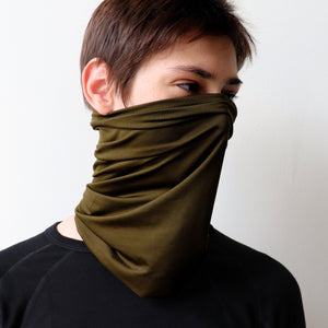 Protect-A-Neck Scarf Mask is a silky soft, stretchy poly/spandex tube scarf + face mask + headband