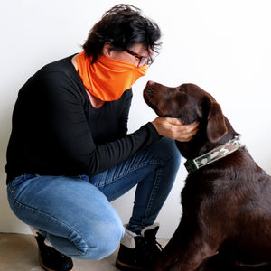 Protect-A-Neck Scarf Mask is a silky soft, stretchy poly/spandex tube scarf + face mask + headband. High-Vis Orange for dog walking!