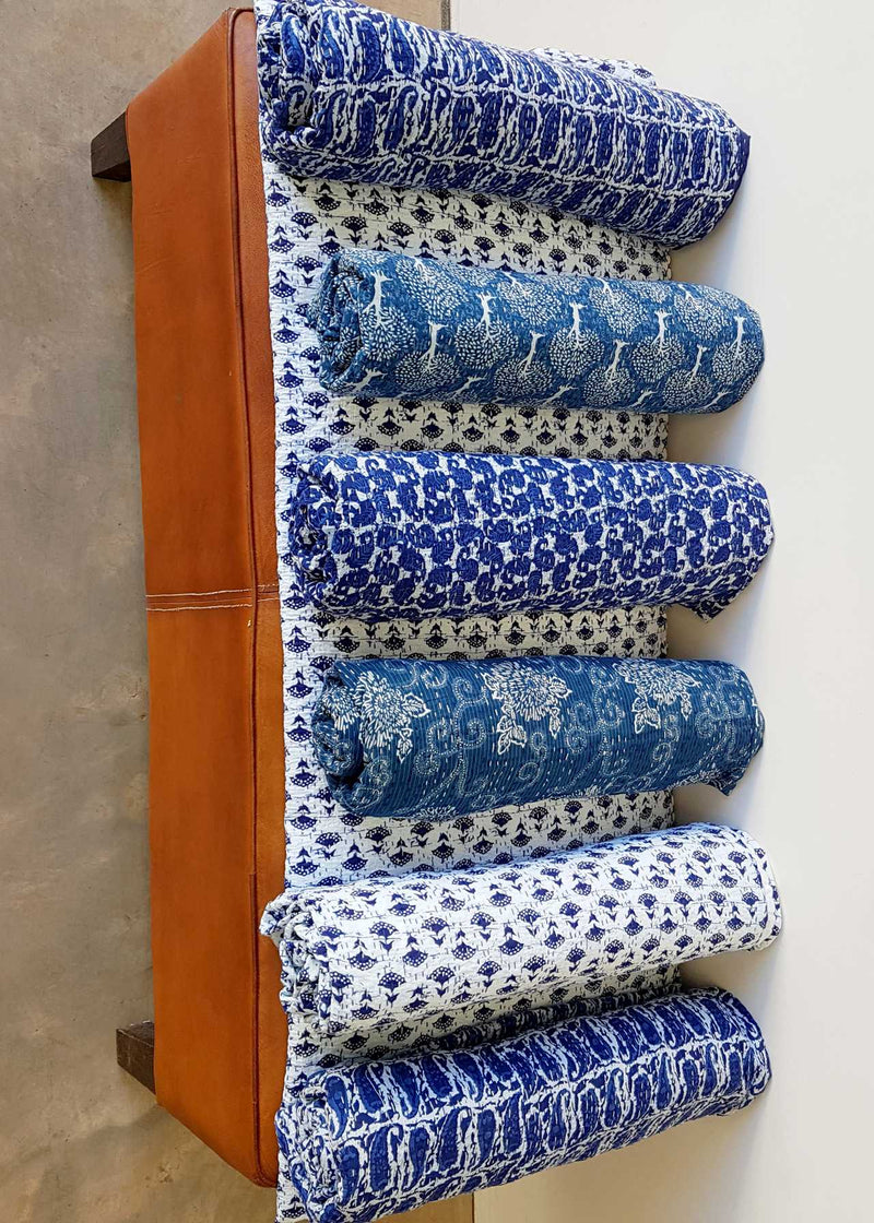 Traditional Blockprint Cotton Kantha Bed Throw QUEEN SIZE. Patterns