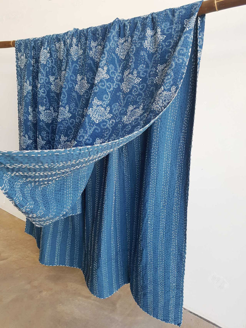 Traditional Blockprint Cotton Kantha Bed Throw QUEEN SIZE. French Blue with White flower