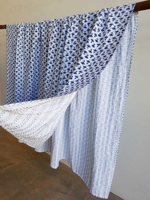 Traditional Blockprint Cotton Kantha Bed Throw QUEEN SIZE. White with Indigo Blue Flower