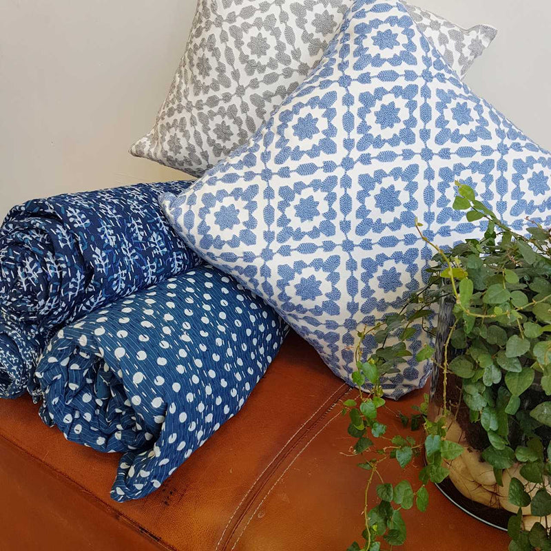 Cotton Embroidery Cushion Cover / Clovelly French Blue + Silver Grey + Queen Kanthas.