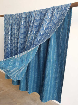 Traditional Blockprint Cotton Kantha Bed Throw QUEEN SIZE. French Blue with tree motif