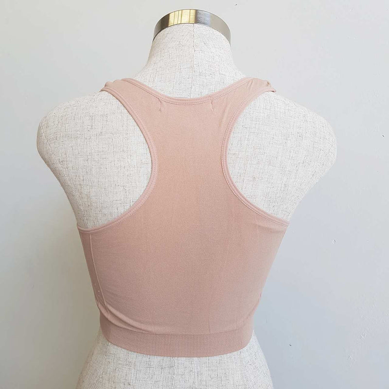comfortable racer back stretch bra crop top beige