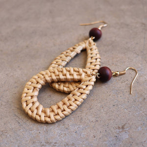 Natural raffia and wooden bead fashion earrings. Tear Drop - Natural.