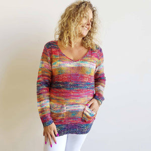 Soft wooly rainbow long sleeve knit jumper with front pockets + shallow v-neck.