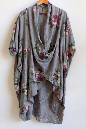 Purolino 100% pure linen poncho throw over with vintage floral print. Italian made in generous plus size fitting.  Charcoal.