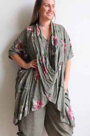 Purolino 100% pure linen poncho throw over with vintage floral print. Italian made in generous plus size fitting. Olive.